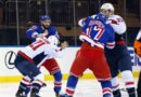 Capitals and Rangers begin game with full line brawl; Tom Wilson fights Brendan Smith on his first shift